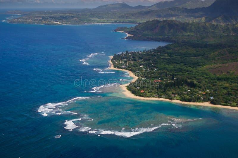 Ha'ena zu Kilauea vom helicoptor lizenzfreies stockbild