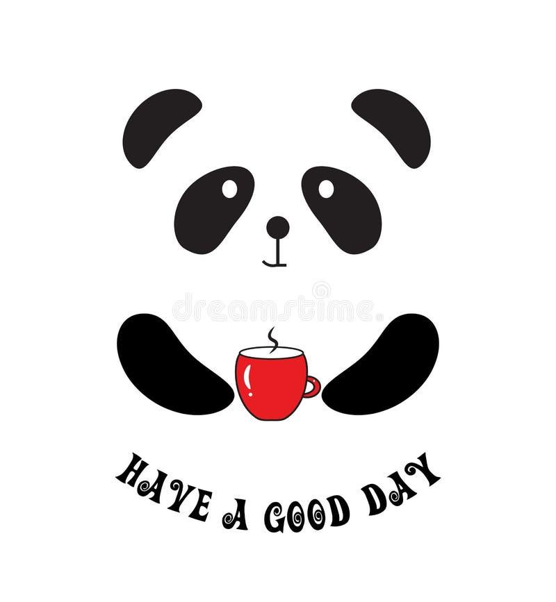 Ha ett citationstecken för bra dag Gullig panda med koppen kaffe vektor illustrationer