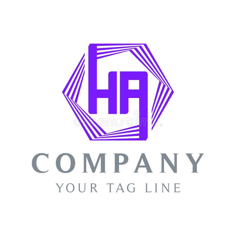 Ha-förmiges ha-Logo, purpurrot lizenzfreie abbildung