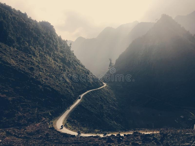 Ha Giang Mountain Range, Northern Vietnam. Road in the Ha Giang Mountain Range, Northern Vietnam stock image
