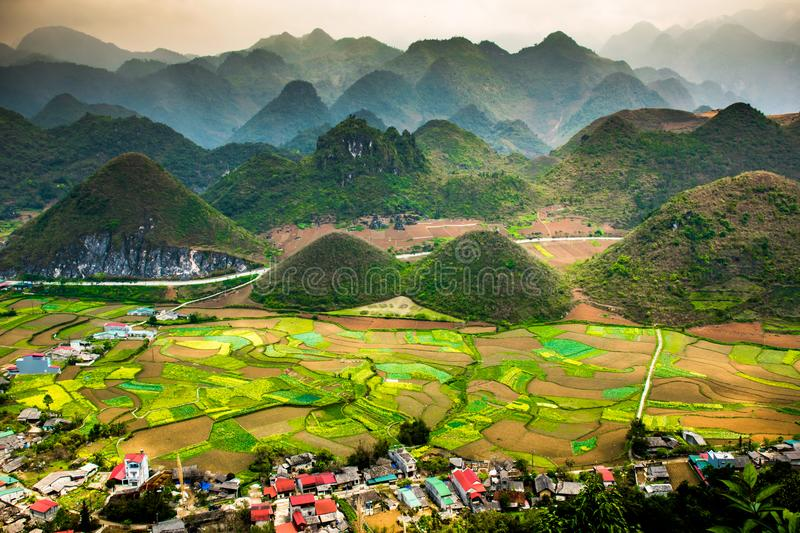 Ha Giang, north extreme loop, North Vietnam, the northern loop. With rice fields, beautuful scenery, villages, and full of motorbikes royalty free stock image