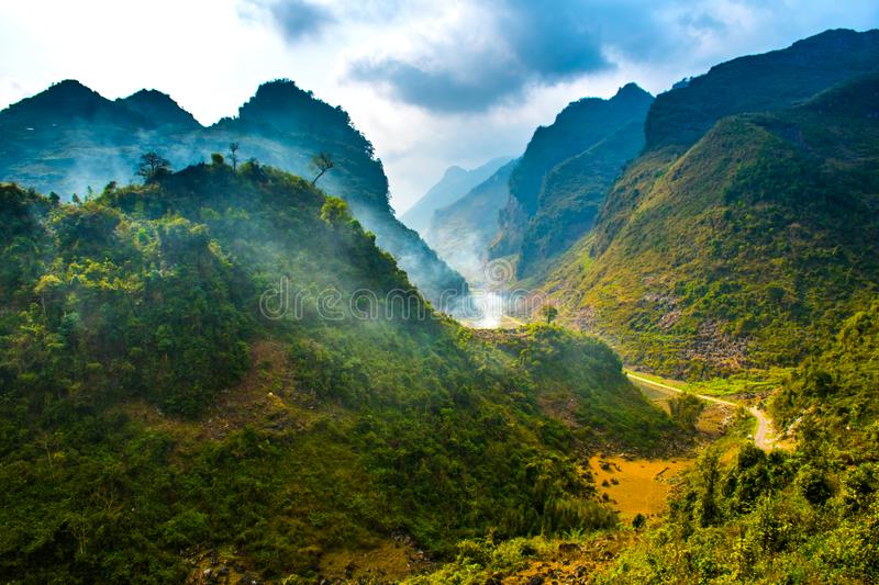 Ha Giang, north extreme loop, North Vietnam, the northern loop. With rice fields, beautuful scenery, villages, and full of motorbikes stock image
