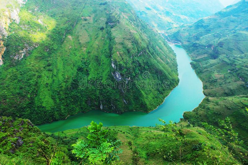 Ha Giang, Vietnam - October 20th, 2018: Stunning view of the Nho Que river surrounded by mountains from the Ma Pi Leng pass stock photography