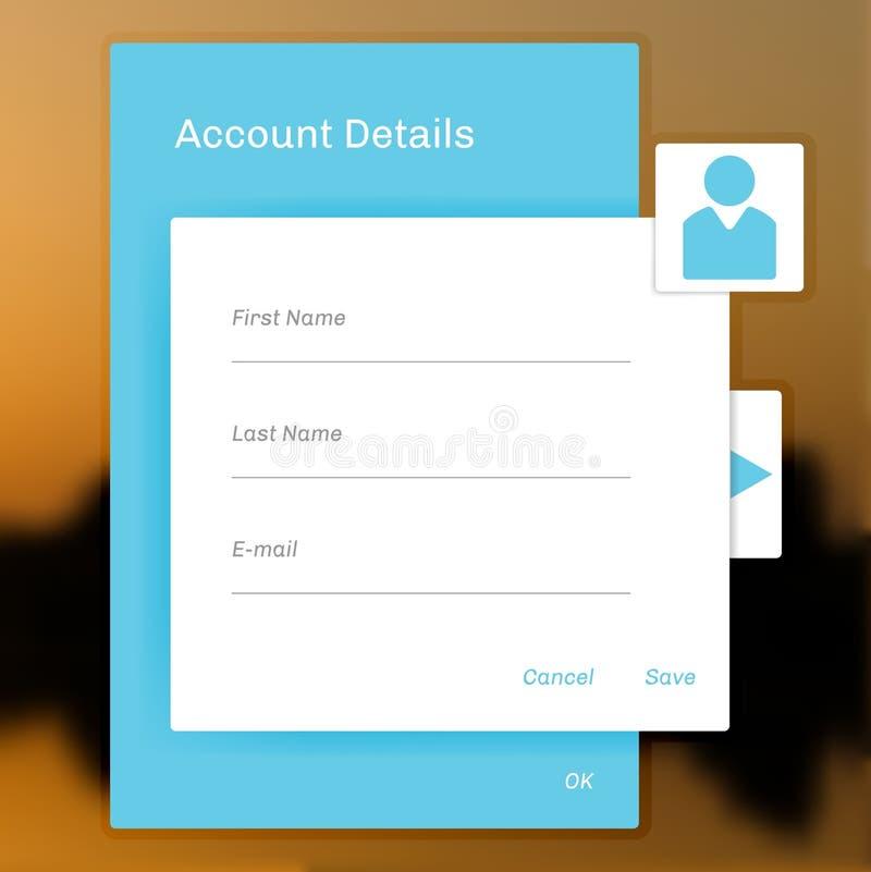 Ha kontakt kontoinloggningen, information på ett socialt nätverk stock illustrationer