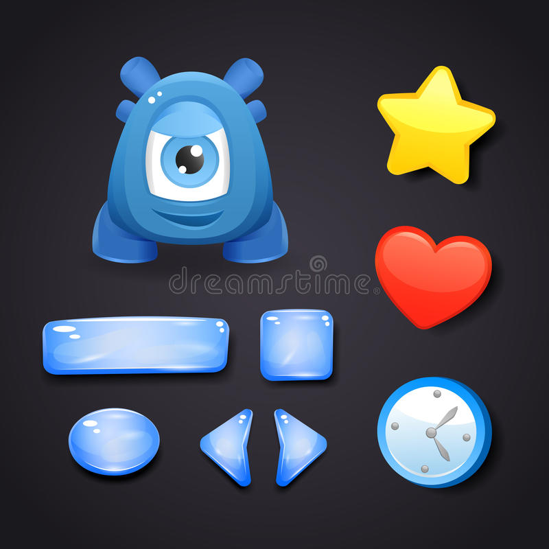 Ha kontakt symboler för modig design med resurser och monstret royaltyfri illustrationer