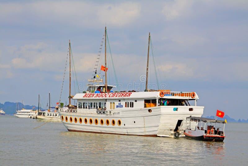 Ha Long Bay Sightseeing Boat, Vietnam UNESCO World Heritage stock photos