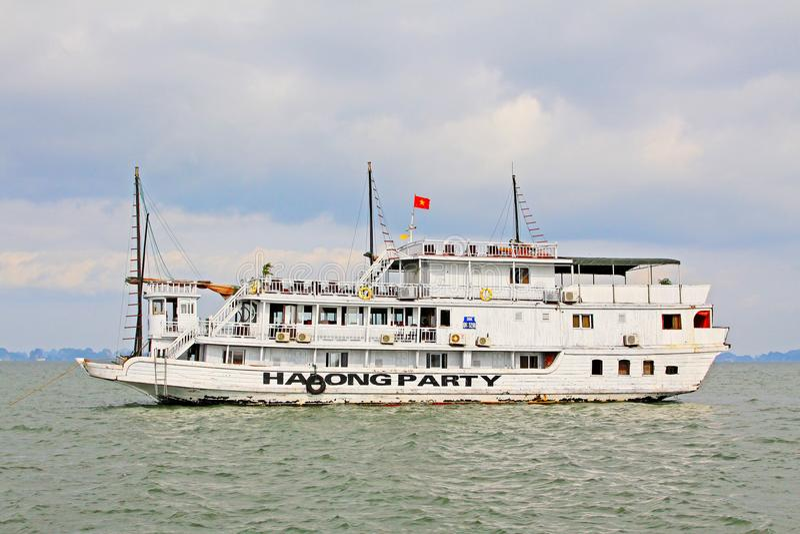Ha Long Bay Sightseeing Boat, Vietnam UNESCO World Heritage royalty free stock photo