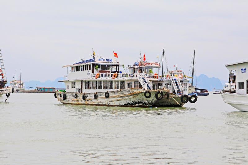 Ha Long Bay Sightseeing Boat, Vietnam UNESCO World Heritage stock photo