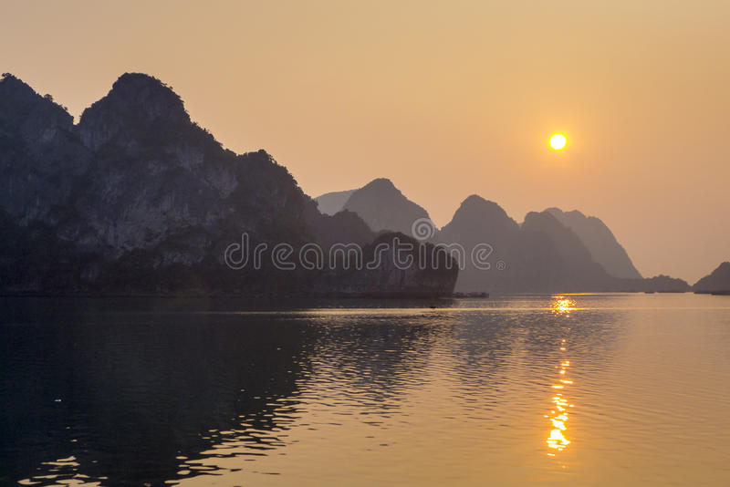 Ha Long Bay Sunset Vietnam stock photo