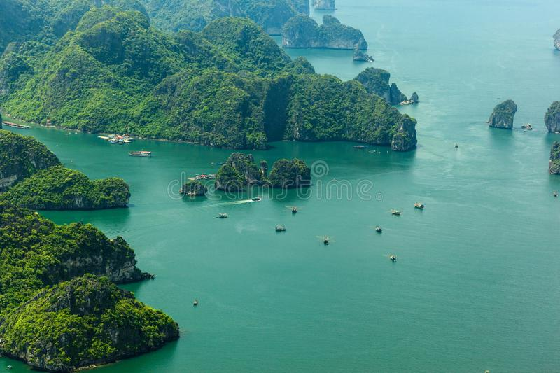 Ha Long Bay view from above, fisher farm in Halong bay royalty free stock photography