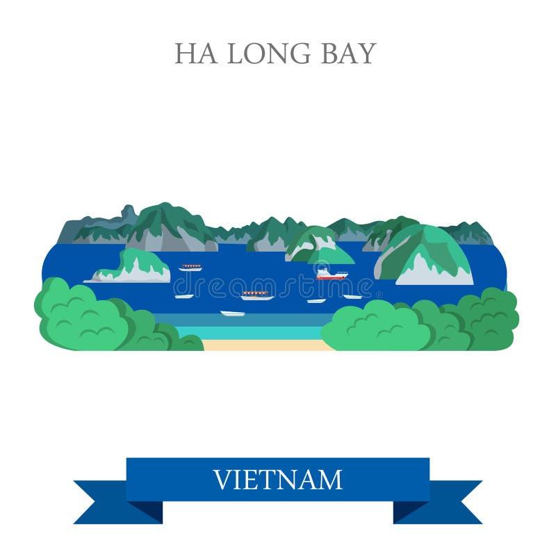 Ha Long Bay in Vietnam attraction tourist attraction landmark vector illustration
