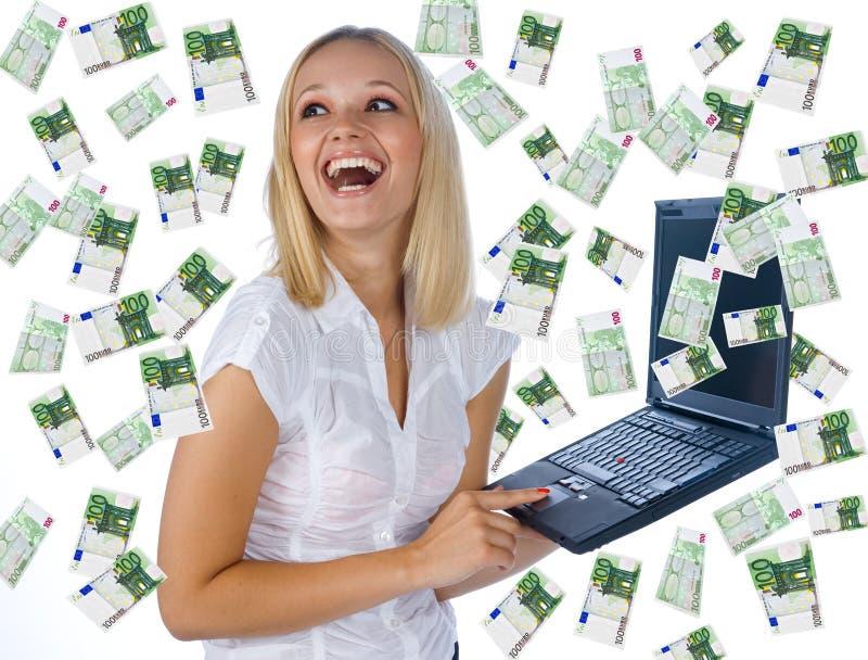 ha mycket pengarkvinnan arkivbilder