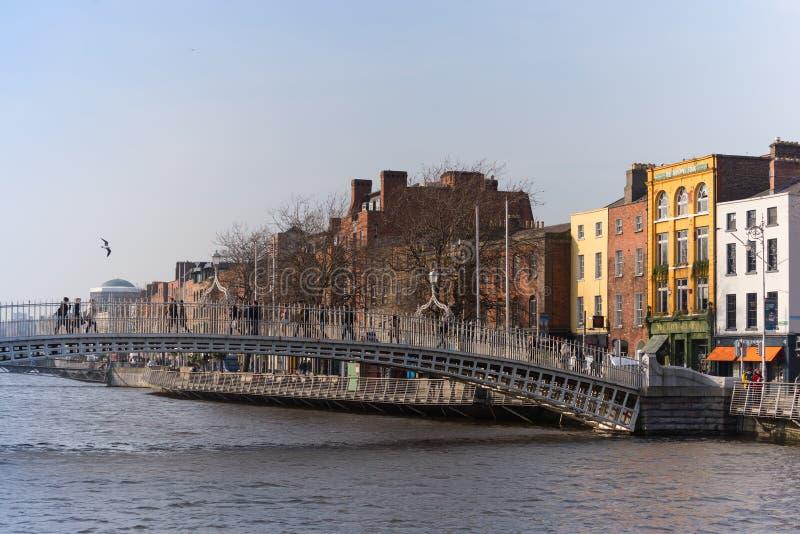 Ha`Penny Bridge in central Dublin stock photos