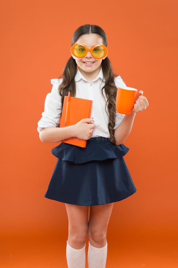 Ha terastlunchtid Studielitteratur Eleven gillar studien Liten flicka som tycker om hennes skolatid Lyckligt litet arkivbilder