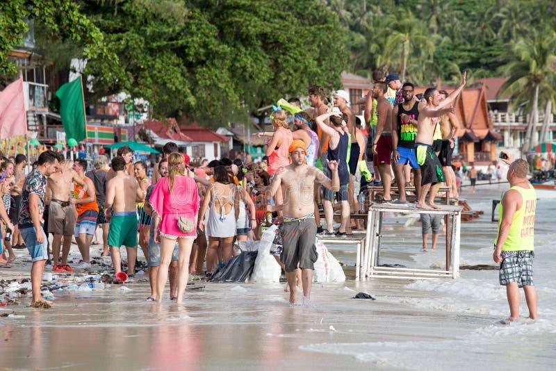 Haad Rin plaża podczas księżyc w pełni przyjęcia w wyspy Koh Phangan, Tajlandia zdjęcie royalty free