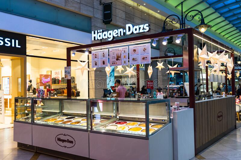 Haagen Dazs ice cream shop located in a shopping mall in Bucharest, Romania, 2020 stock photography