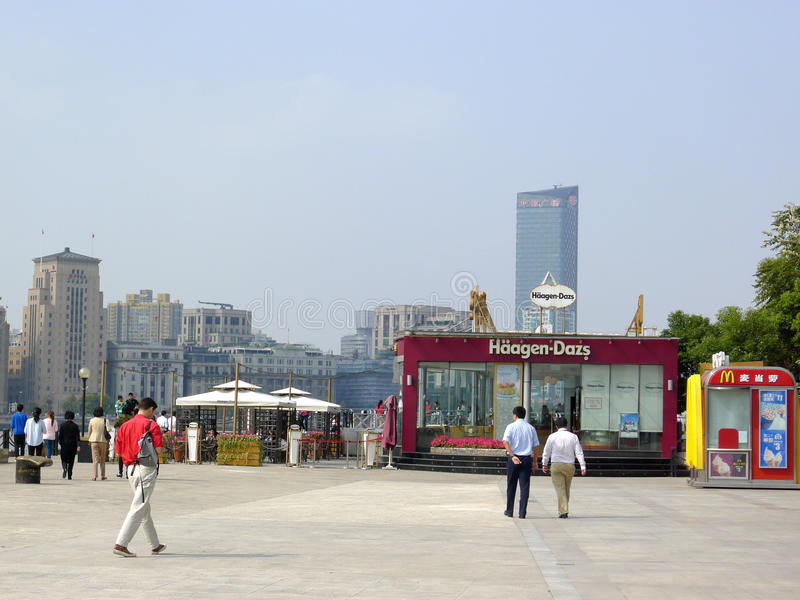 Haagen-Dazs and Mcdonald's in Shanghai waitan royalty free stock photo