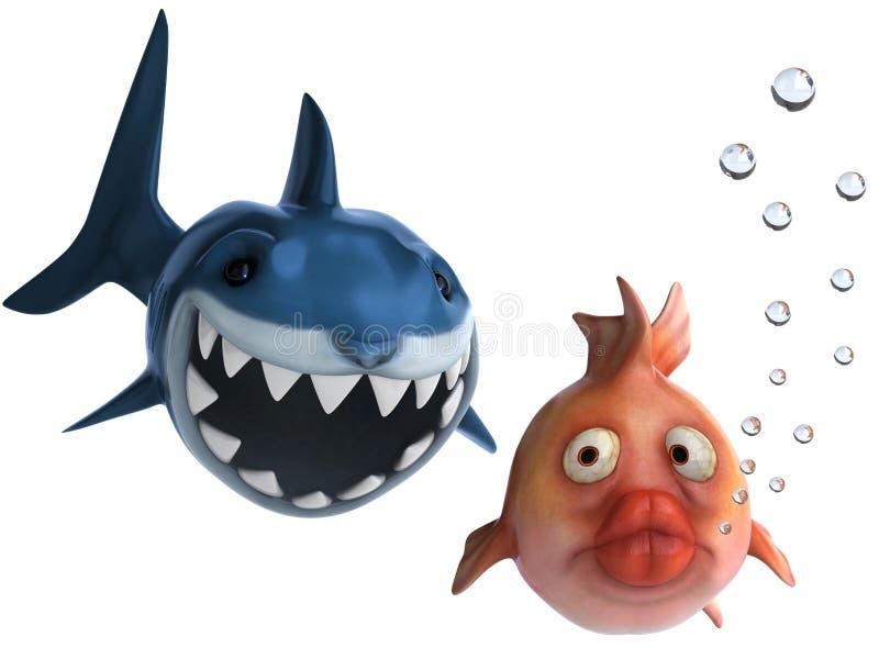 Haai en goudvis vector illustratie