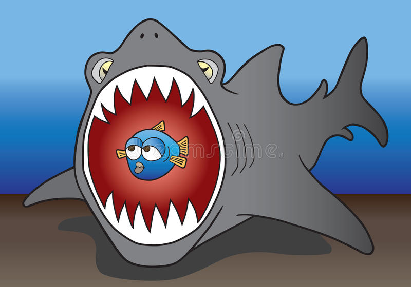 Haai en prooi royalty-vrije illustratie