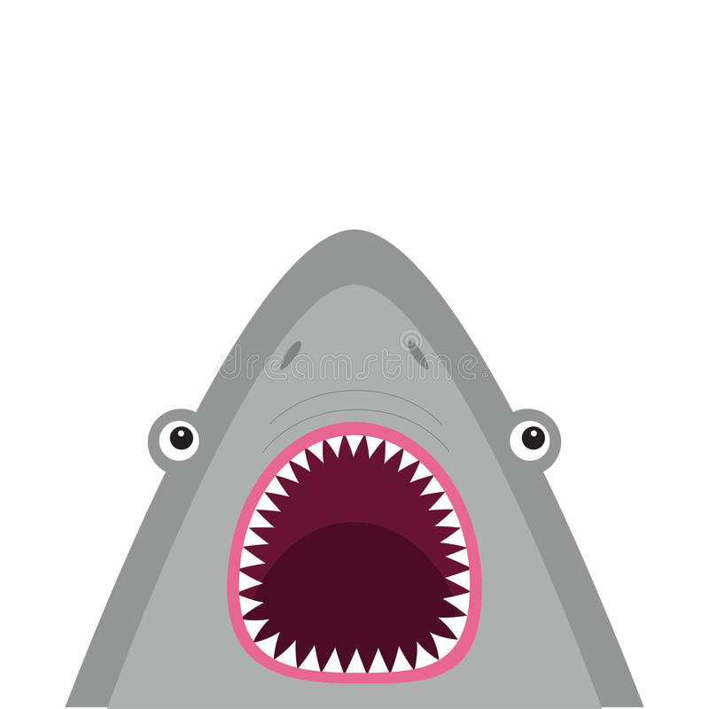 Haai hoofdgezicht met grote open mond en scherpe tanden Leuk beeldverhaal dierlijk karakter De kaart van de baby Overzees oceaan  stock illustratie