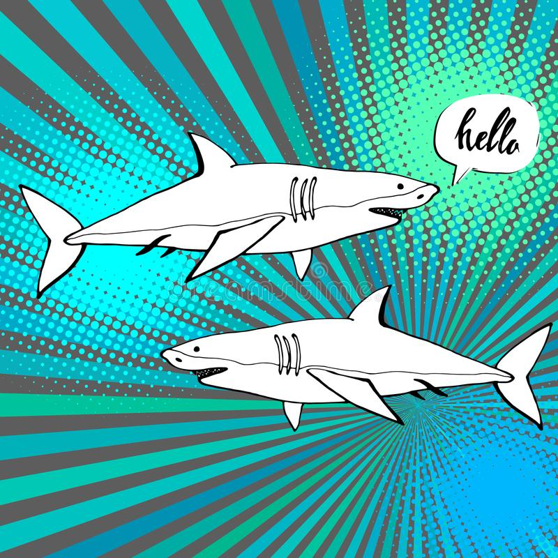 Haai met open mond Vlakke illustratie vector illustratie