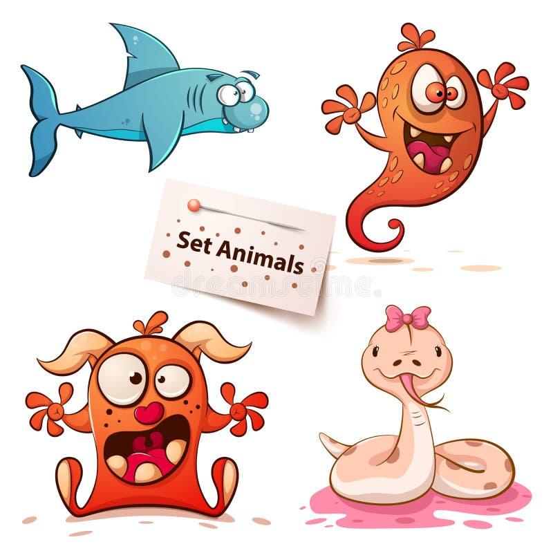 Haai, monster, slang - vastgestelde dieren royalty-vrije illustratie