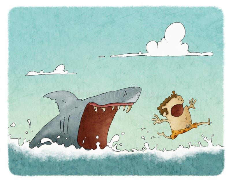 Haaiaanval stock illustratie