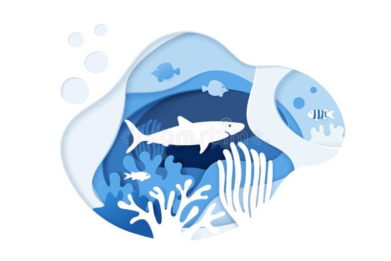 Haaiduik Vrij duiken Document het concept van kunstkoraalriffen Het document sneed onderwater oceaanachtergrond met koraalriffen, vector illustratie