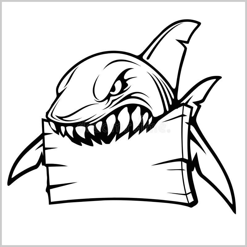 Haaiembleem voor een sportteam op wit Vector illustratie stock illustratie