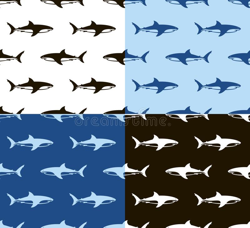 Haaien naadloos patroon Zwarte, wit en blauw stock illustratie