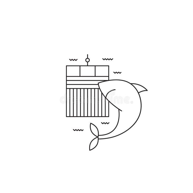 Haaikooi het duiken lijnpictogram royalty-vrije illustratie