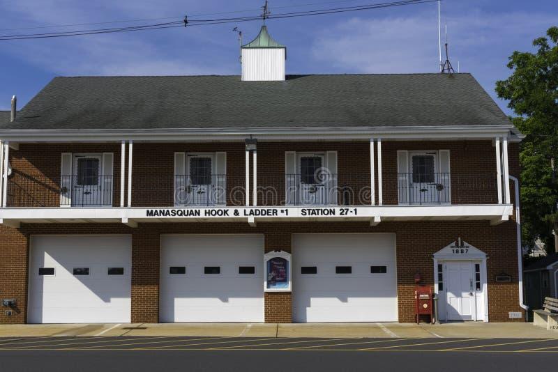 Haak en Ladderfirehouse royalty-vrije stock foto