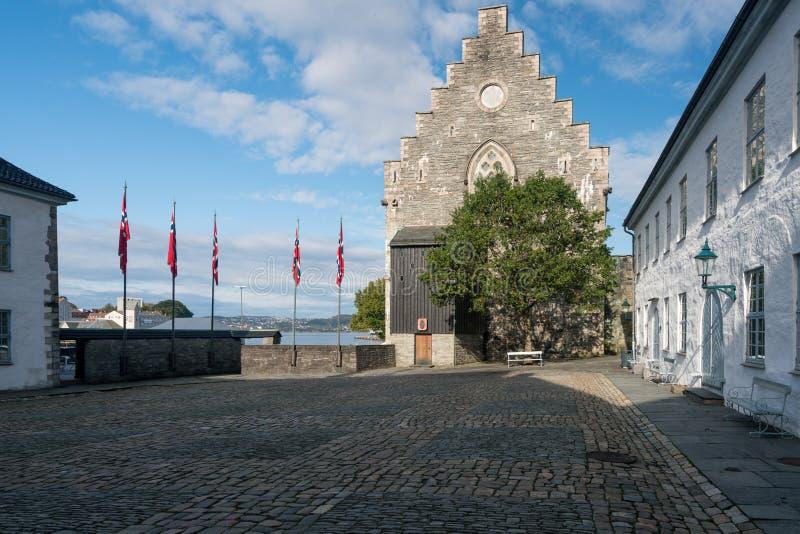 Haakons Salão dentro da fortaleza de Bergenhus em Bergen imagem de stock royalty free