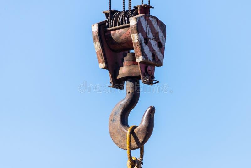 Haakopschorting - opheffende de bouw autokraan van het uitrustingsblok royalty-vrije stock fotografie