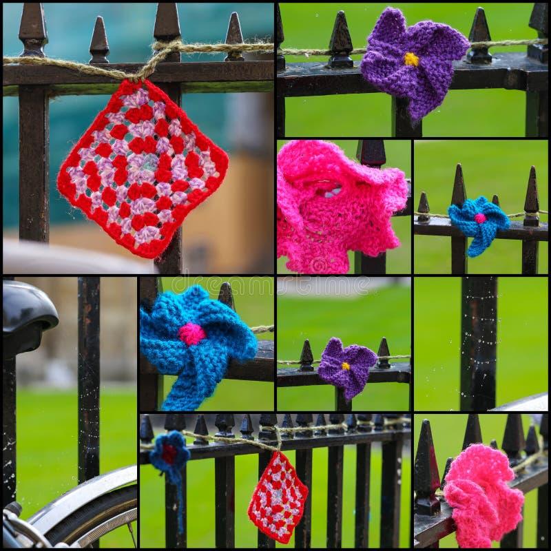 Haakt op Ijzeromheining Set Collage royalty-vrije stock fotografie