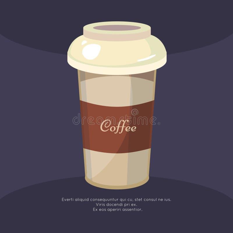 Haal de affiche van de koffiemok weg - het ontwerp van de koffieaffiche stock illustratie