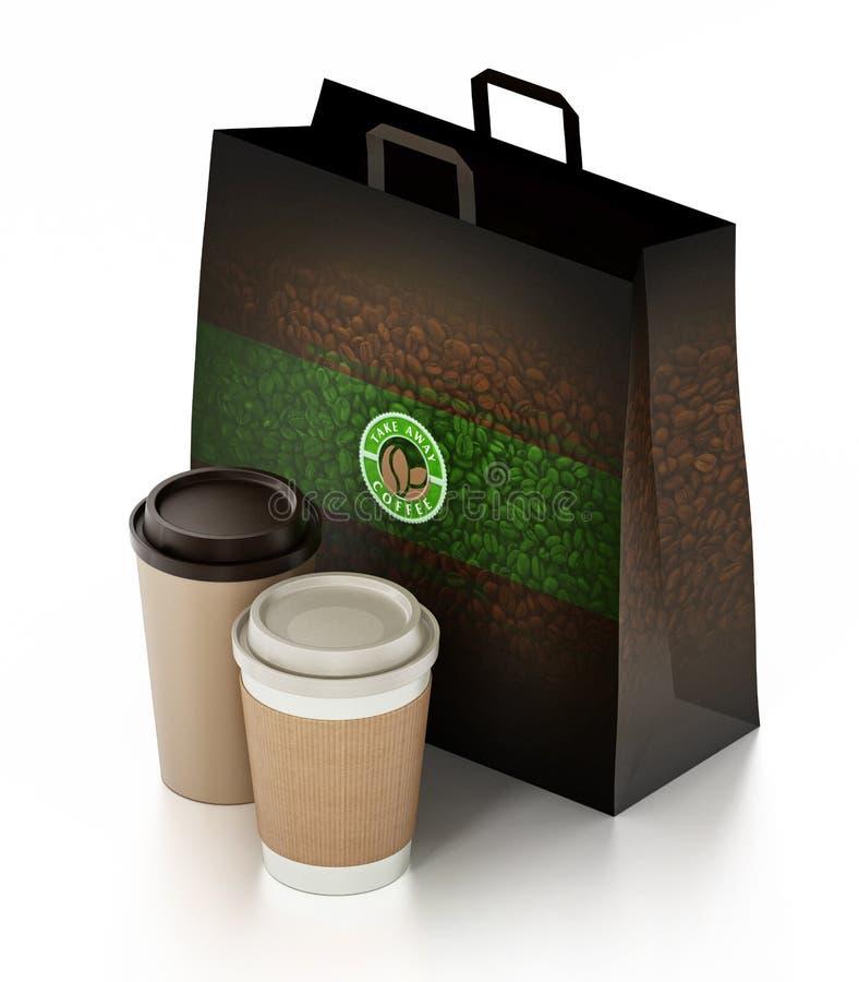 Haal koffiekop en document zak weg op wit wordt geïsoleerd dat 3D Illustratie stock illustratie