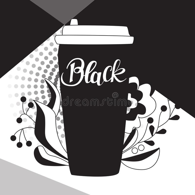 Haal koffiekop met het hand van letters voorzien woord ` Zwarte ` weg stock illustratie