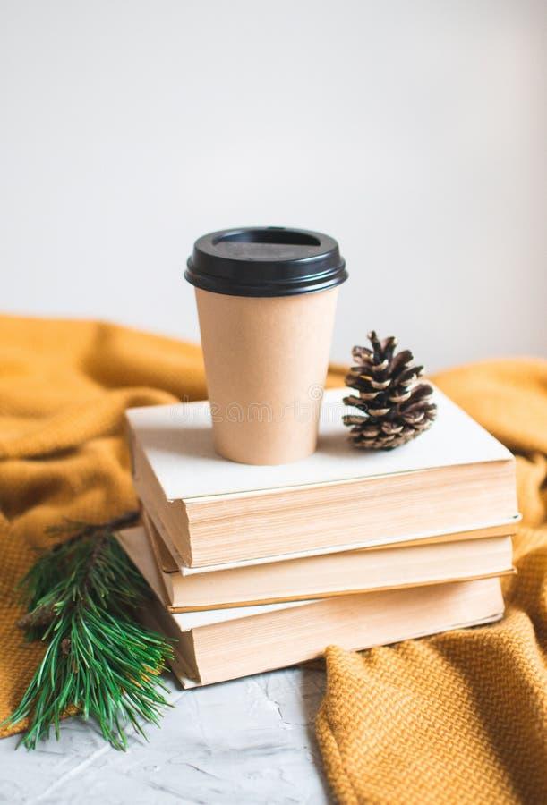 Haal van de het Boeklezing van de Koffiekop de Rust van de de Wintertijd het Achtergrondvrije tijd Besteden weg stock afbeeldingen