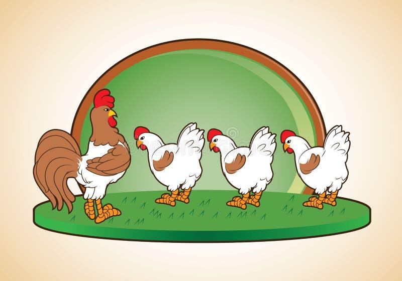 Haan en kippenbeeldverhaal vector illustratie