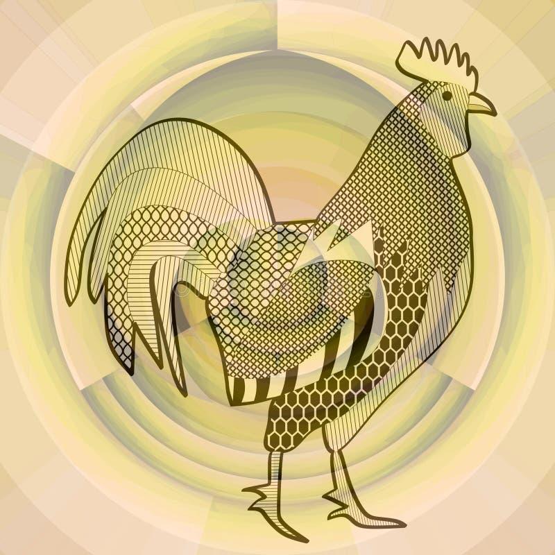 Haan, het zwarte trekken op abstracte beige achtergrond die op een nevelige ochtendzon, symbool lijken van Chinese horoscoop, jaa stock illustratie