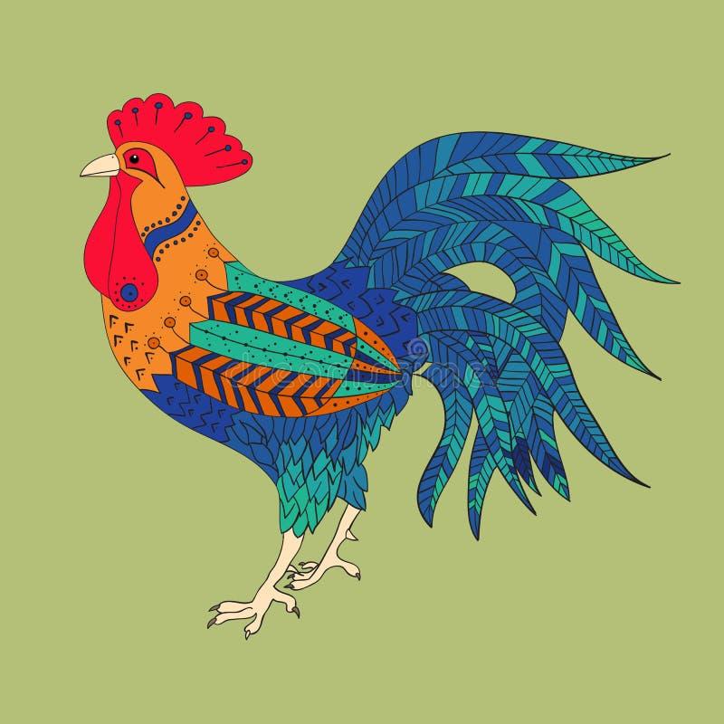 Haan in kleur stock illustratie