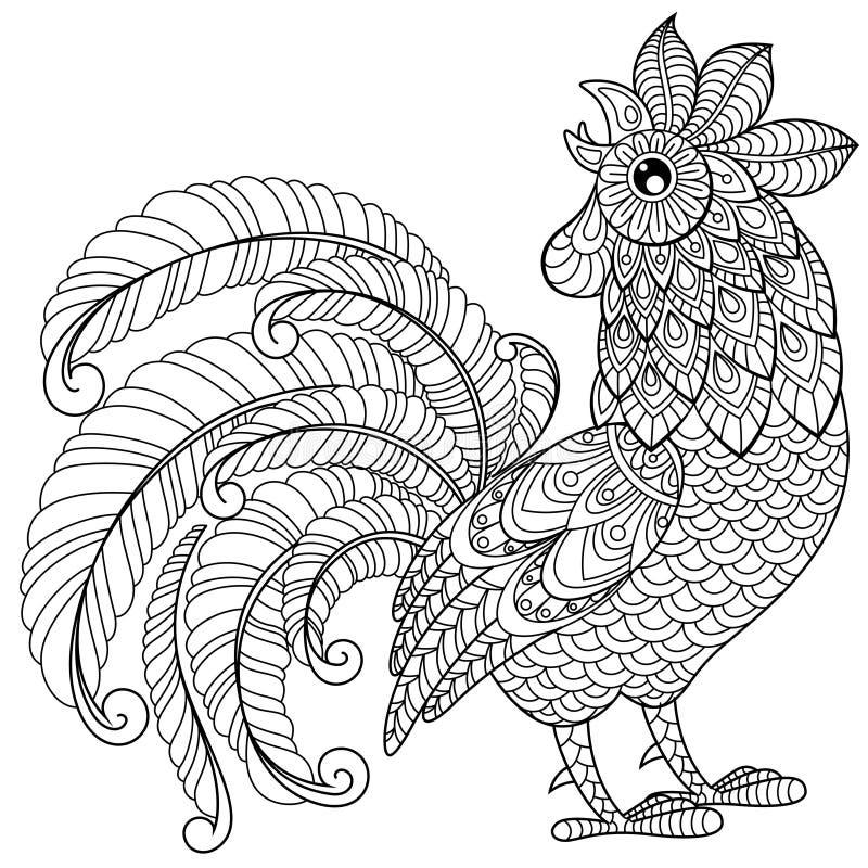 Haan in zentanglestijl Symbool van Chinees nieuw jaar 2017 Volwassen antistress kleurende pagina Zwart-witte hand getrokken krabb vector illustratie