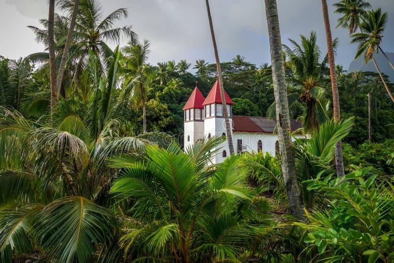 Haapiti-Kirche im Moorea-Inseldschungel, Landschaft stockbild