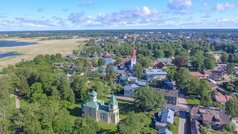 Haapsalu, естонија Красивый вид с воздуха в сезоне лета стоковое фото