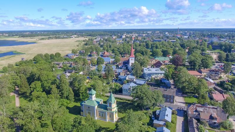 Haapsalu, Estland Mooie luchtmening in zomer stock foto