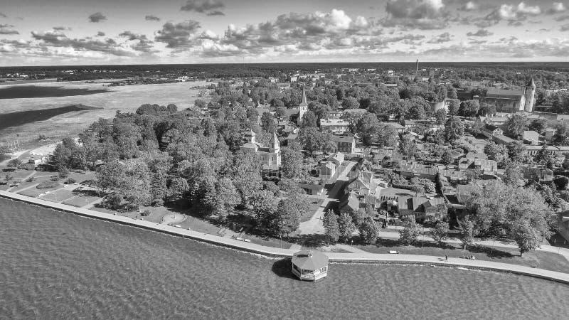 Haapsalu, Estland Mooie luchtmening in zomer stock afbeelding