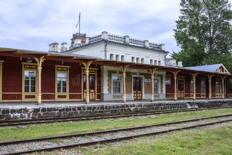 Haapsalu, Estonia, Europa, la stazione ferroviaria fotografia stock