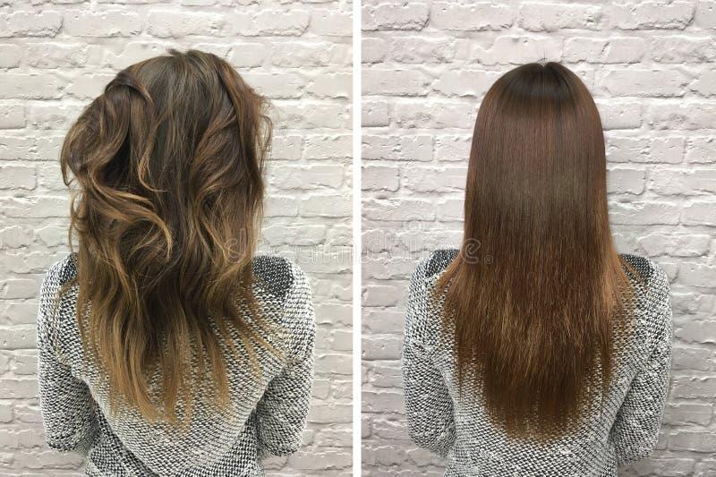 Haar before and after behandeling stock foto's