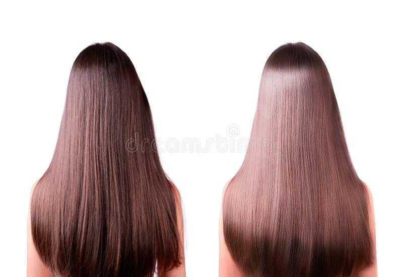 Haar, das vorher und nachher geraderichtet lizenzfreie stockbilder
